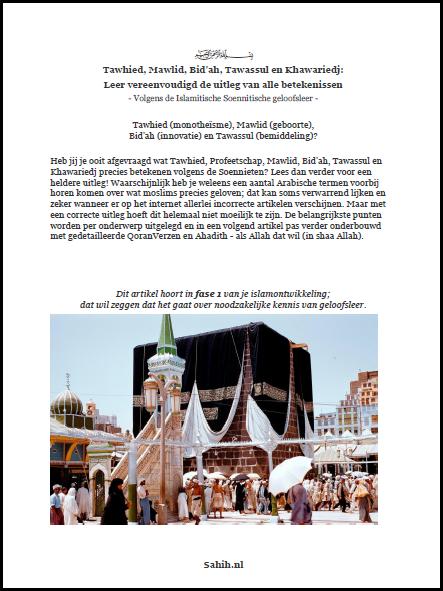 [Boek] 1. Tawhied, Mawlid, Bid'ah en Tawassul - Leer vereenvoudigd de uitleg van alle betekenissen - Geloofsleer Series [PDF]